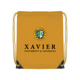 Gold Drawstring Backpack-Xavier Seal Vertical