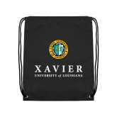 Black Drawstring Backpack-Xavier Seal Vertical