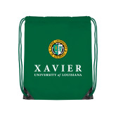 Kelly Green Drawstring Backpack-Xavier Seal Vertical