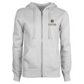 ENZA Ladies White Fleece Full Zip Hoodie-Xavier Seal Vertical