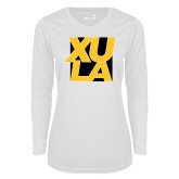 Ladies Syntrel Performance White Longsleeve Shirt-XULA with Square