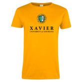 Ladies Gold T Shirt-Xavier Seal Vertical