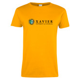 Ladies Gold T Shirt-Xavier Seal Horizontal