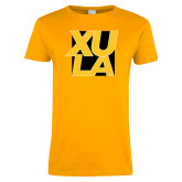 Ladies Gold T Shirt-XULA with Square