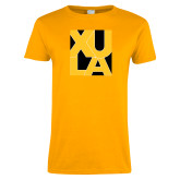 Ladies Gold T Shirt-XULA in Square