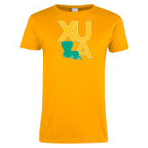 Ladies Gold T Shirt-XULA with Louisiana Vertical