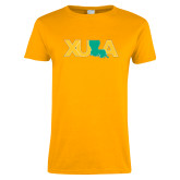 Ladies Gold T Shirt-XULA with Louisiana Horizontal