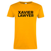 Ladies Gold T Shirt-Xavier Lawyer