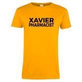 Ladies Gold T Shirt-Xavier Pharmacist