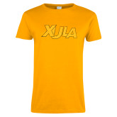 Ladies Gold T Shirt-XULA Wordmark Distressed