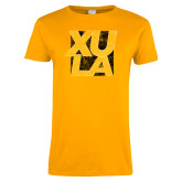Ladies Gold T Shirt-XULA with Square Distressed