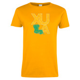 Ladies Gold T Shirt-XULA with Louisiana Vertical Distressed