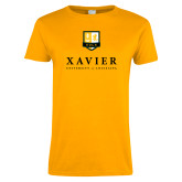 Ladies Gold T Shirt-Stacked Xavier