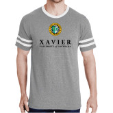 Grey Heather/White Tri Blend Varsity Tee-Xavier Seal Vertical