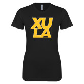 Next Level Ladies SoftStyle Junior Fitted Black Tee-XULA with Square