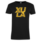 Ladies Black T Shirt-XULA with Square Distressed