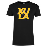 Ladies Black T Shirt-XULA with Square