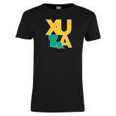 Ladies Black T Shirt-XULA with Louisiana Vertical