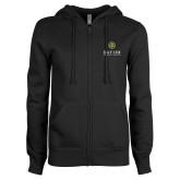 ENZA Ladies Black Fleece Full Zip Hoodie-Xavier Seal Vertical