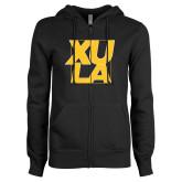 ENZA Ladies Black Fleece Full Zip Hoodie-XULA with Square