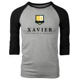 Grey/Black Tri Blend Baseball Raglan-Stacked Xavier