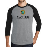 Grey/Black Tri Blend Baseball Raglan-Xavier Seal Vertical