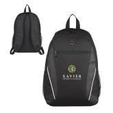Atlas Black Computer Backpack-Xavier Seal Vertical