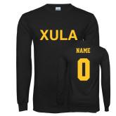 Black Long Sleeve T Shirt-XULA, Custom Tee w/ Name and #