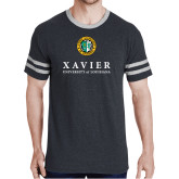 Black Heather/Grey Tri Blend Varsity Tee-Xavier Seal Vertical