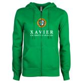 ENZA Ladies Kelly Green Fleece Full Zip Hoodie-Xavier Seal Vertical