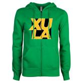 ENZA Ladies Kelly Green Fleece Full Zip Hoodie-XULA with Square