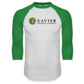 White/Kelly Green Raglan Baseball T Shirt-Xavier Seal Horizontal