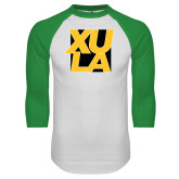 White/Kelly Green Raglan Baseball T Shirt-XULA with Square