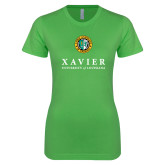 Next Level Ladies SoftStyle Junior Fitted Kelly Green Tee-Xavier Seal Vertical