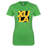 Next Level Ladies SoftStyle Junior Fitted Kelly Green Tee-XULA with Square