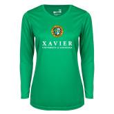 Ladies Syntrel Performance Kelly Green Longsleeve Shirt-Xavier Seal Vertical