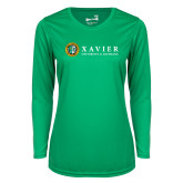 Ladies Syntrel Performance Kelly Green Longsleeve Shirt-Xavier Seal Horizontal
