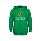 Youth Kelly Green Fleece Hoodie-Xavier Seal Vertical