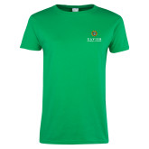 Ladies Kelly Green T Shirt-Xavier Seal Vertical