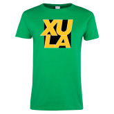 Ladies Kelly Green T Shirt-XULA with Square