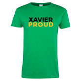 Ladies Kelly Green T Shirt-Xavier Proud
