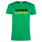 Ladies Kelly Green T Shirt-Xavier Lawyer