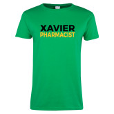 Ladies Kelly Green T Shirt-Xavier Pharmacist