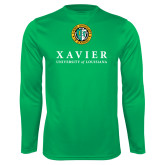 Performance Kelly Green Longsleeve Shirt-Xavier Seal Vertical