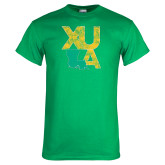 Kelly Green T Shirt-XULA with Louisiana Vertical Distressed