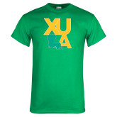 Kelly Green T Shirt-XULA with Louisiana Vertical