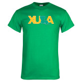 Kelly Green T Shirt-XULA with Louisiana Horizontal