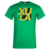 Kelly Green T Shirt-XULA with Square Distressed