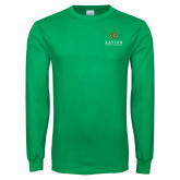 Kelly Green Long Sleeve T Shirt-Xavier Seal Vertical