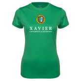 Ladies Syntrel Performance Kelly Green Tee-Xavier Seal Vertical